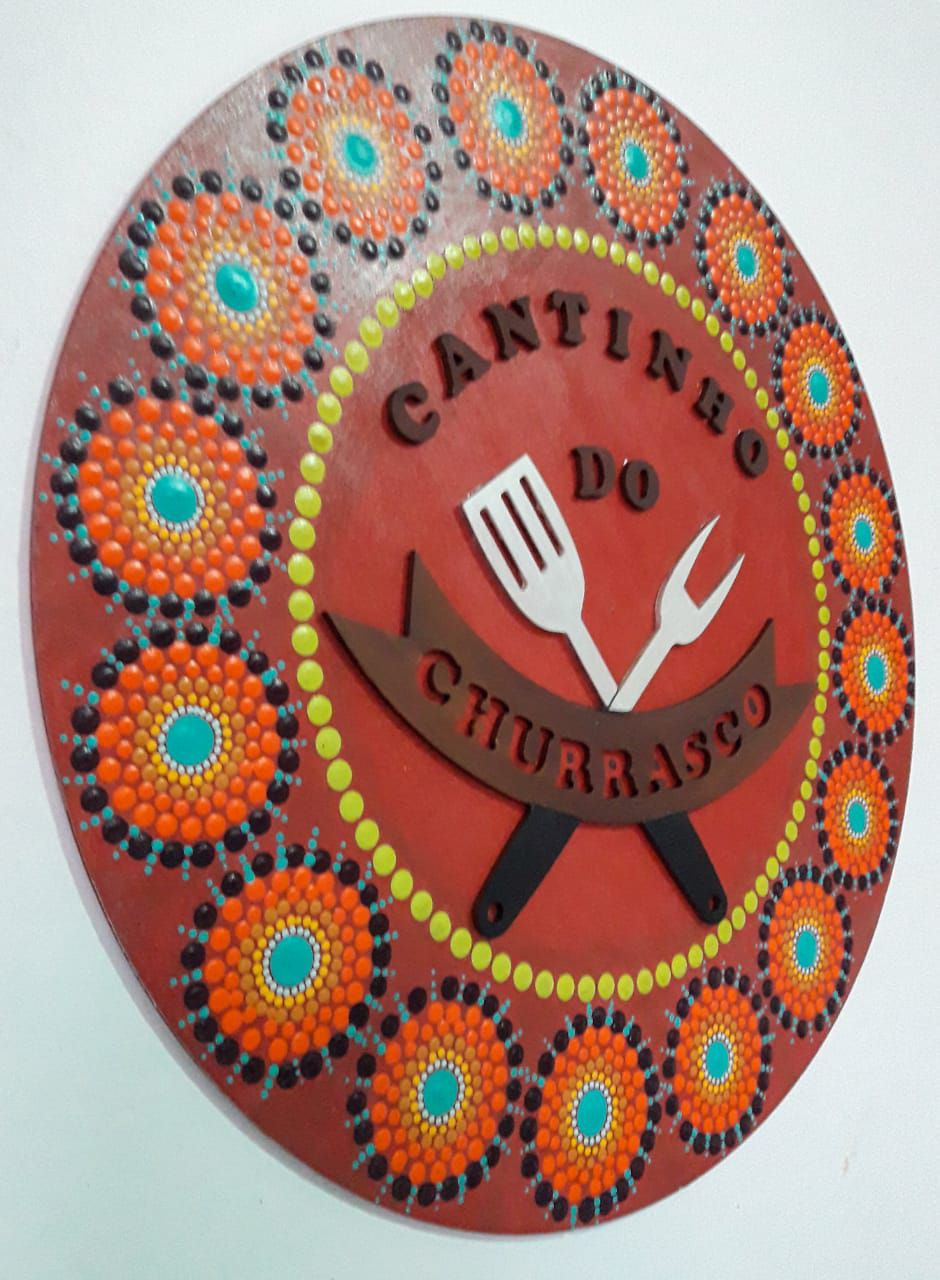 Placa Decorativa Cantinho do Churrasco Pintura Livre 35 cm CC-50