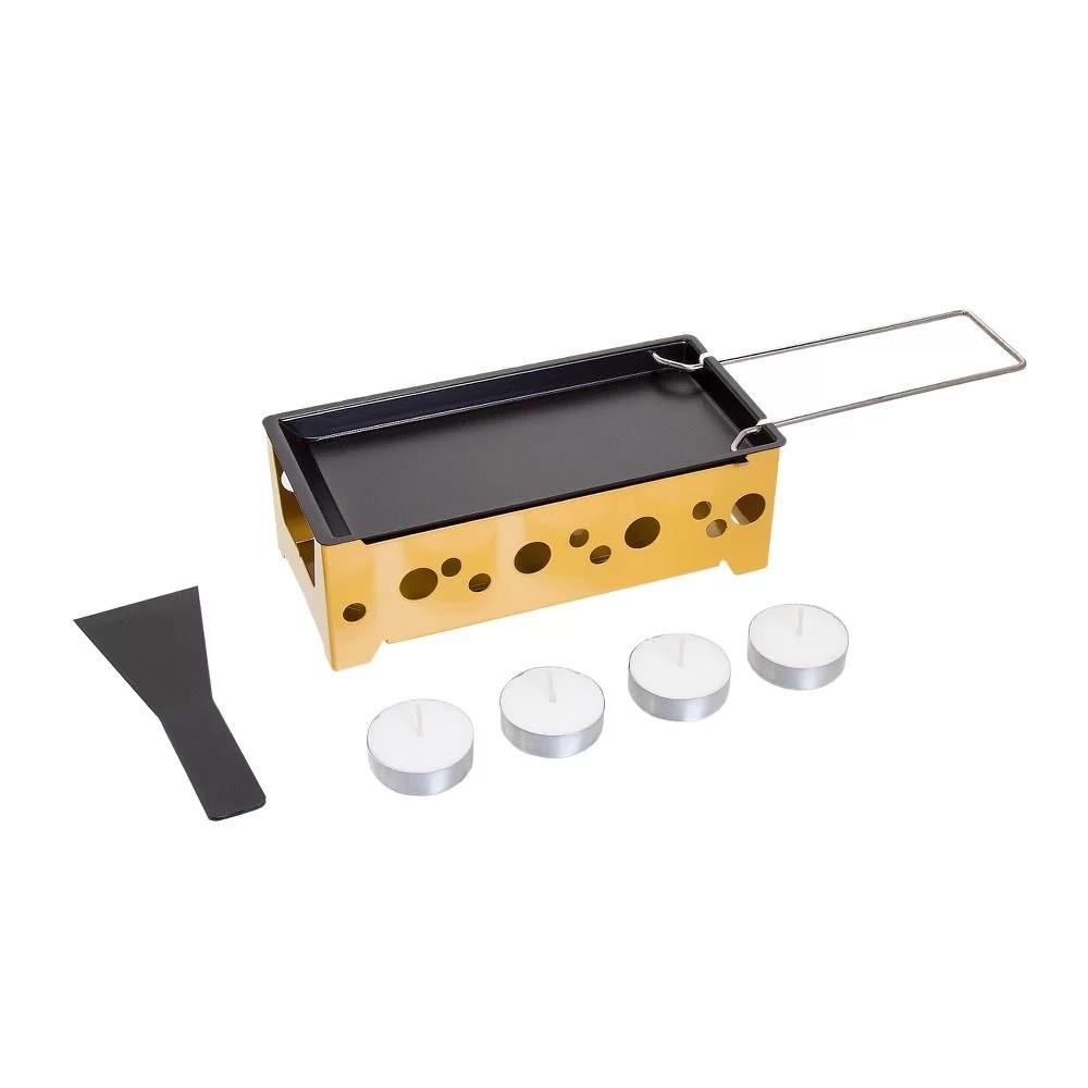Raclette Preto Amarelo com Espátula Nylon e Velas 18,5 cm