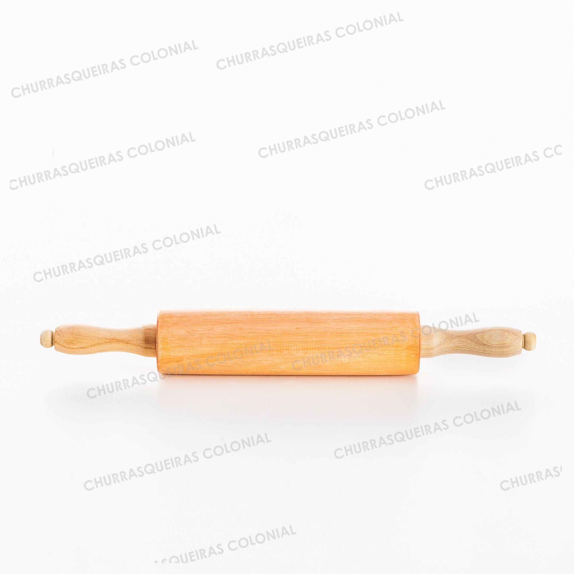 Rolo Laminador de Massas para Pizza e Pão 44 cm Madeira