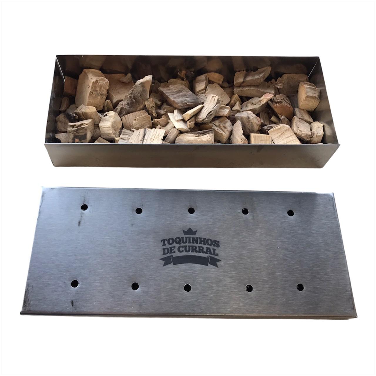 Caixa Smoker Box em aço Inox para defumação 23 x 9 cm
