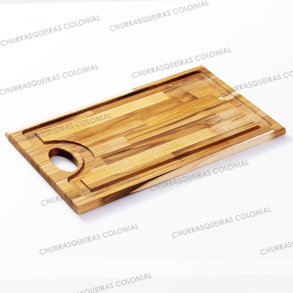 Tábua de corte para Churrasco de Madeira Teca 47 x 30 cm