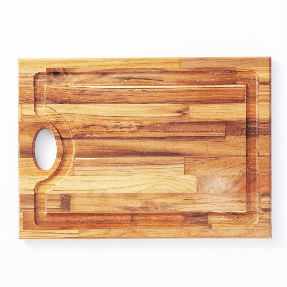 Tábua de corte para Churrasco de Madeira Teca 40 x 29 cm