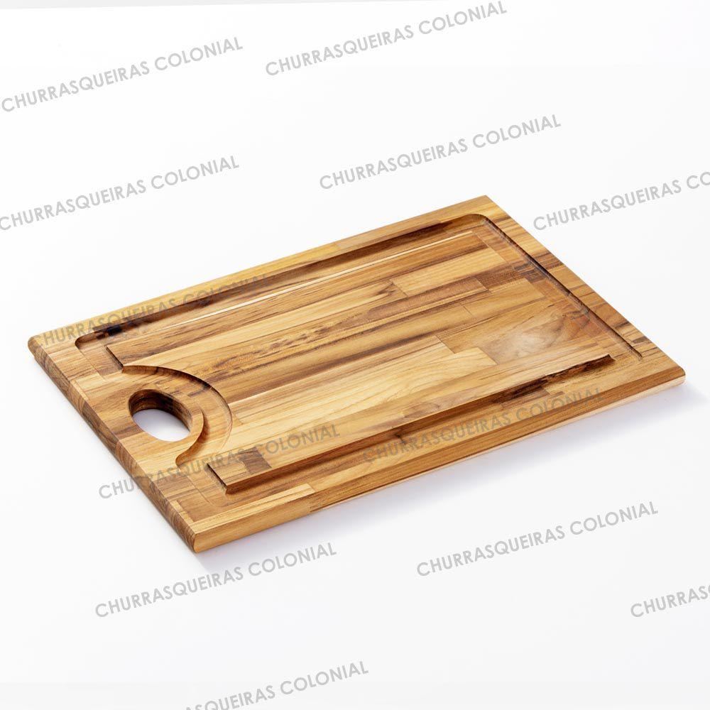 Tábua de corte para Churrasco de Madeira Teca 53 x 34 cm