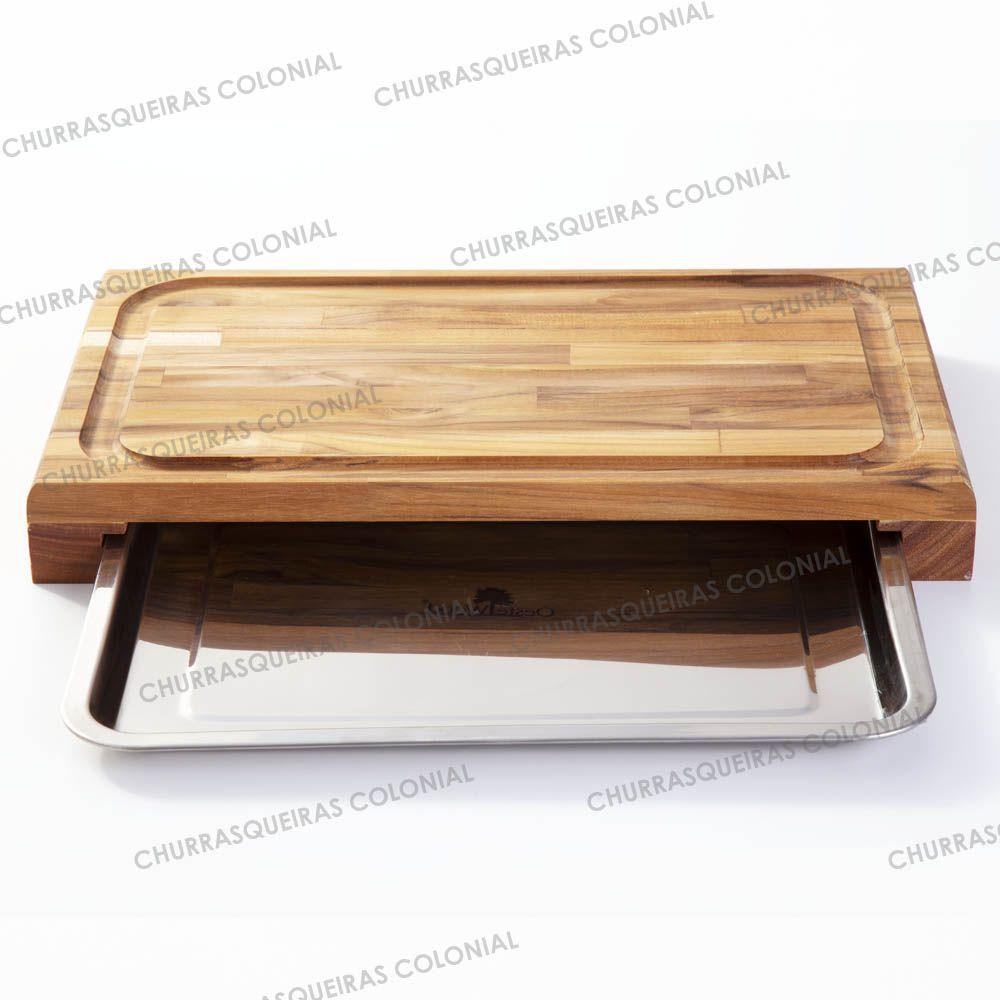 Tábua de corte para Churrasco Madeira Teca com Bandeja Inox para Servir 40 x 28 cm