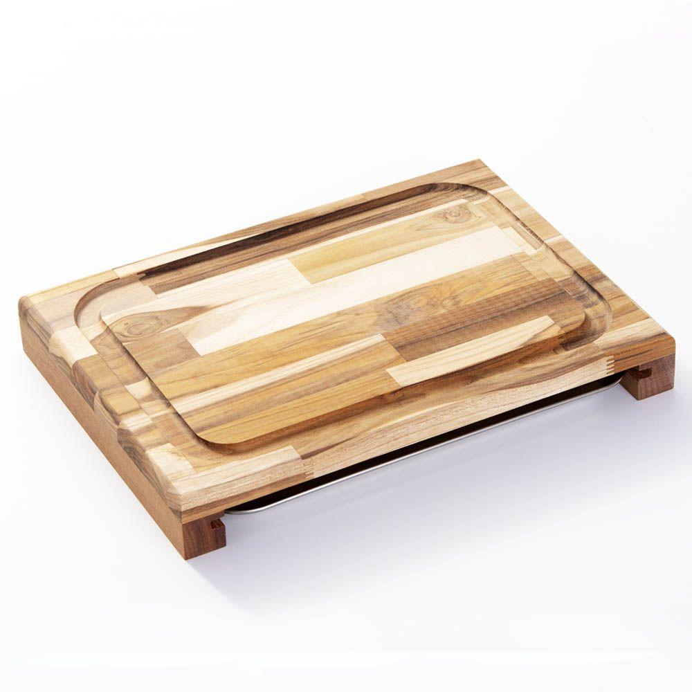 Tábua de corte para Churrasco Madeira Teca com Bandeja Inox para Servir 47 x 30 cm