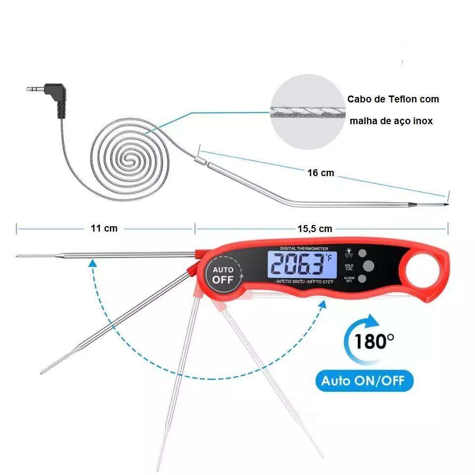 Termômetro Sonda Digital Culinário Aço Inox 300°C Vermelho