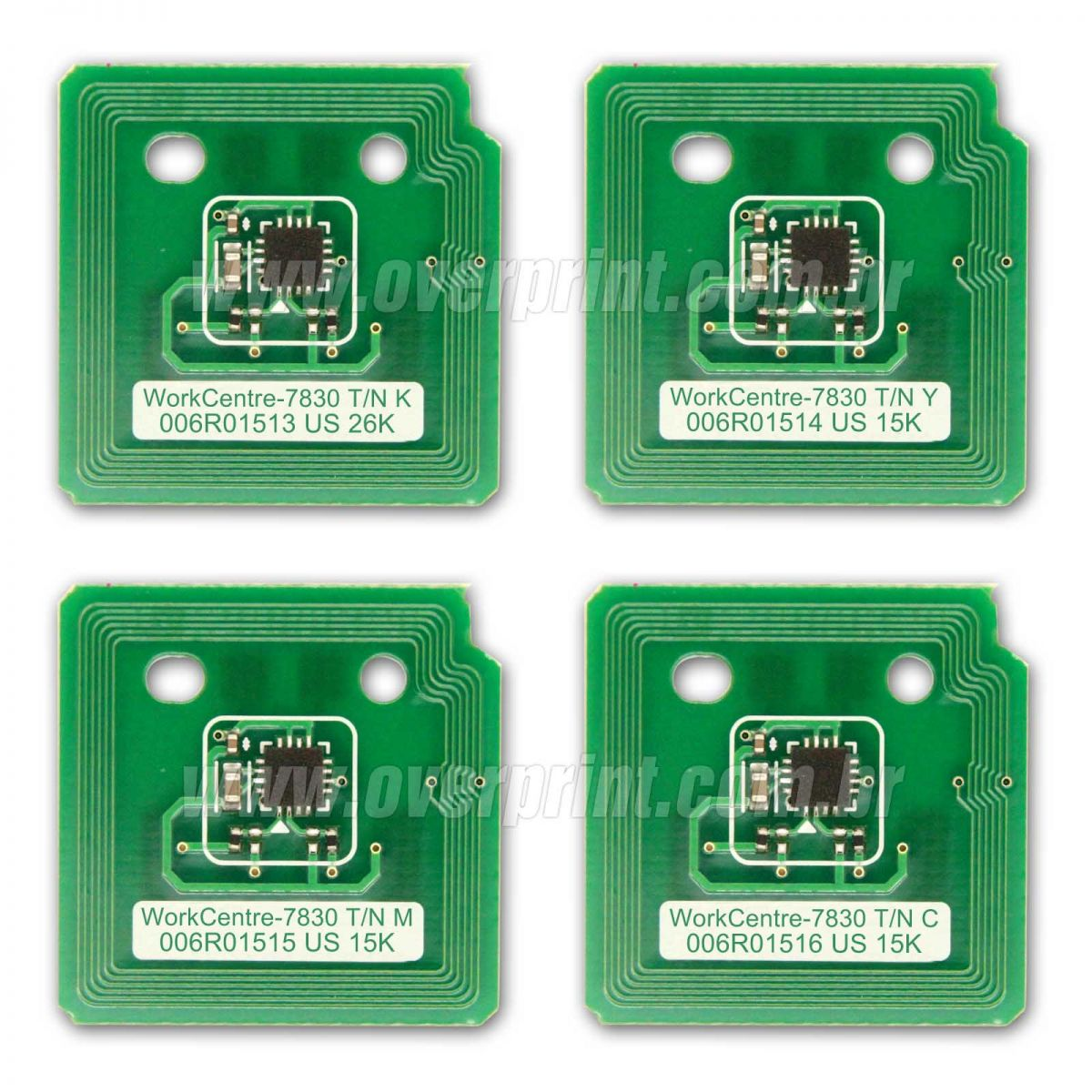 Kit Chip Toner Xerox WorkCentre 7830/7835/7845/7855 - 4 Cores - Overprint