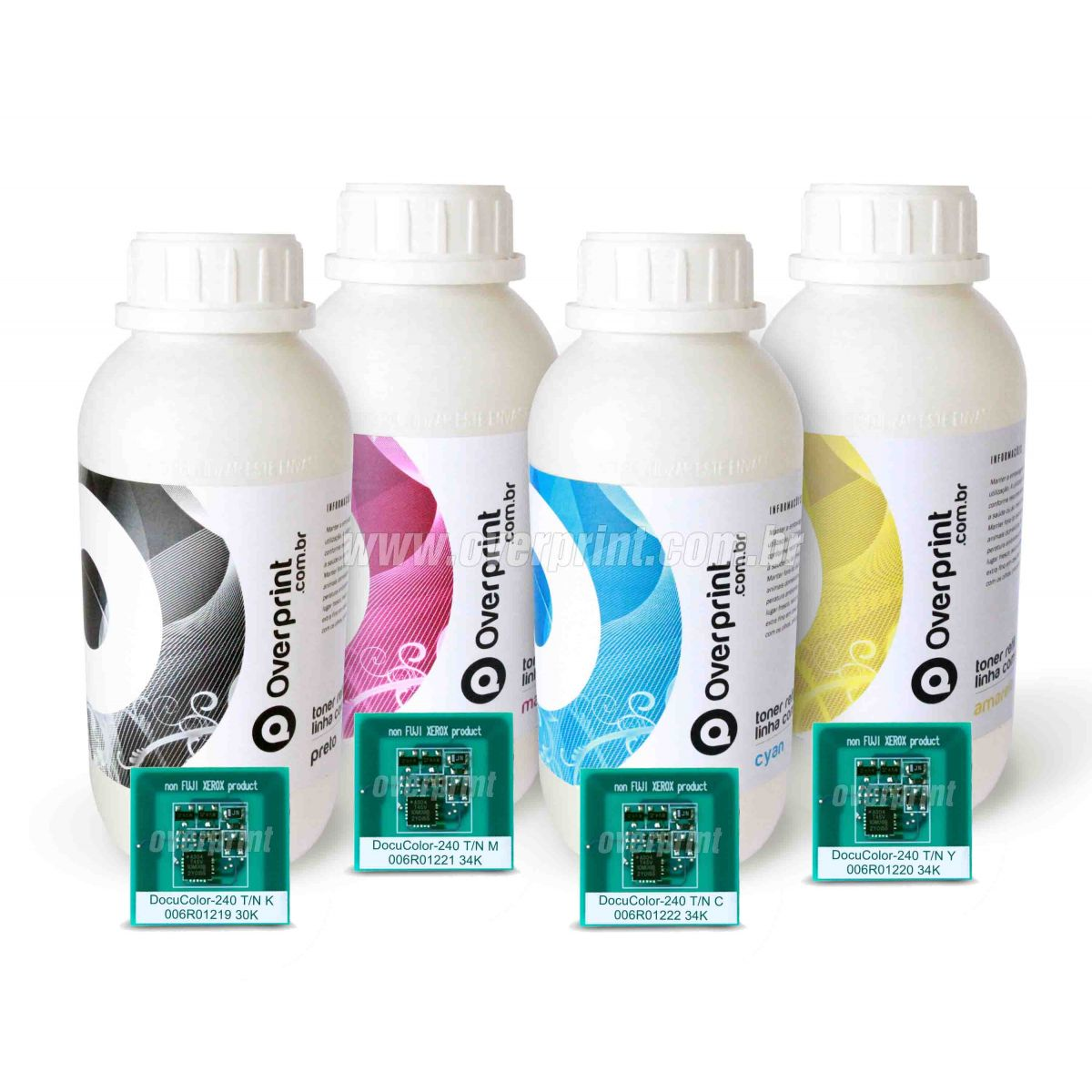 Kit Refil de Toner 4 cores + 4 Chips Xerox Docucolor 240/242/250/252/260 - Overprint