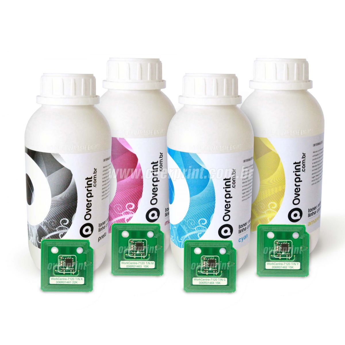 Kit Refil de Toner 4 cores + 4 Chips Xerox WorkCentre 7120/7125/7220/7225 - Overprint