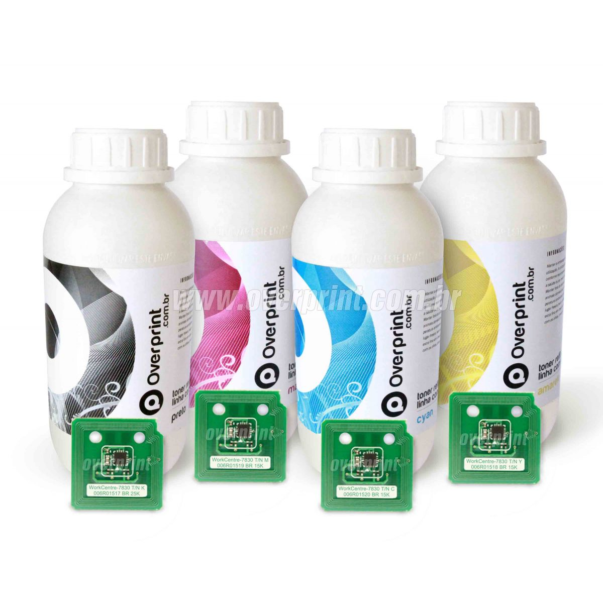 Kit Refil de Toner 4 cores + 4 Chips Xerox WorkCentre 7830/7835/7845/7855 - Overprint