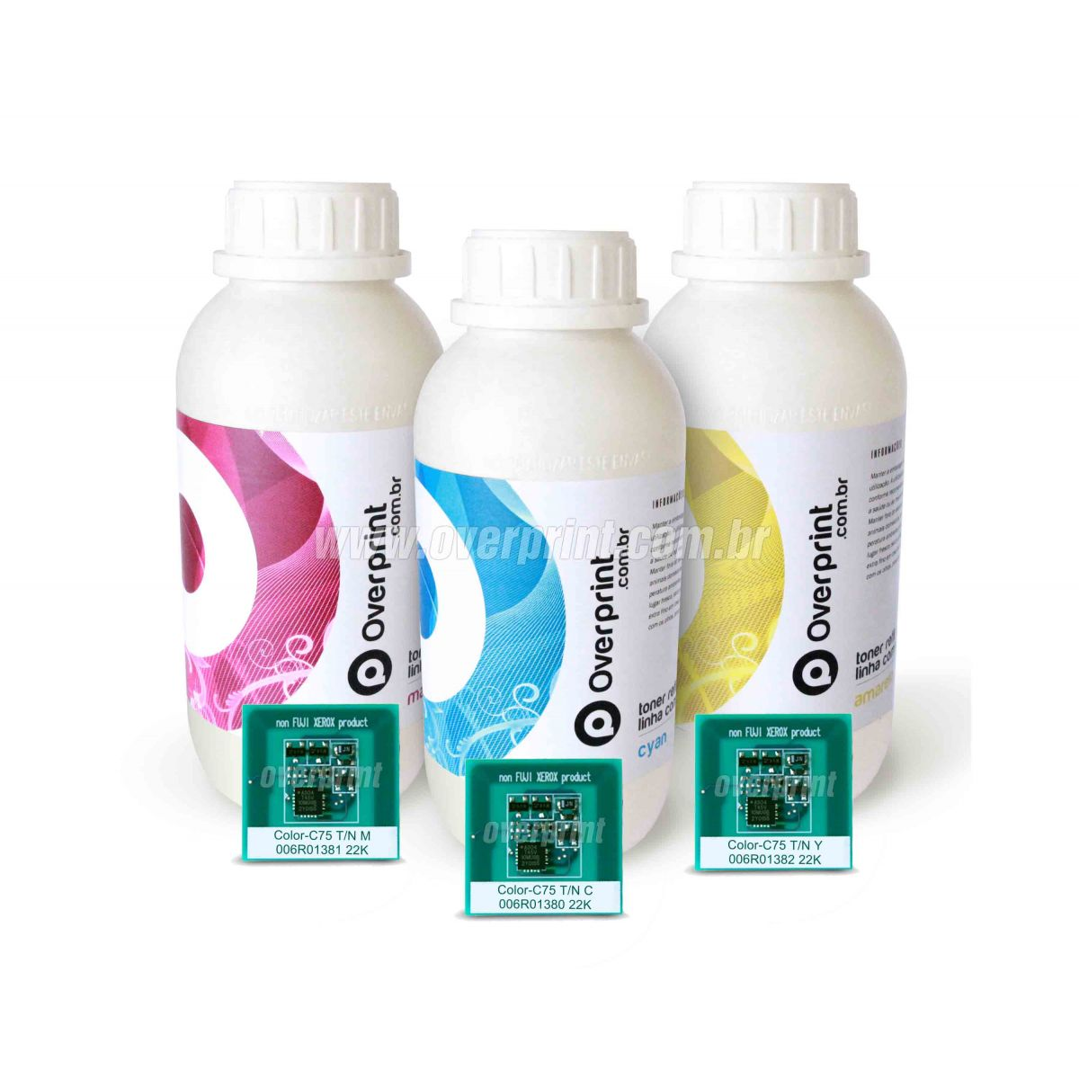 Kit Refil de Toner + Chip Xerox Color C75 / J75 (CMY) - Overprint