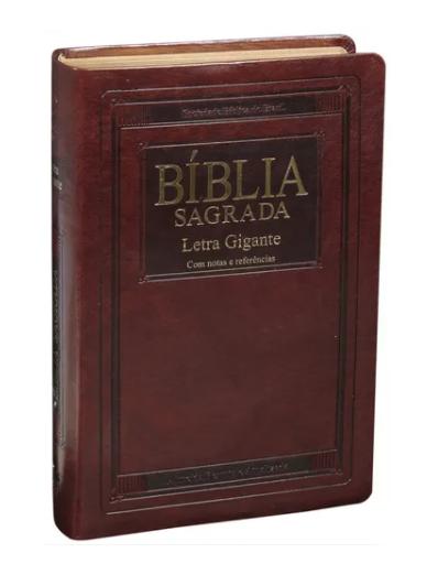 BÍBLIA SAGRADA LETRA GIGANTE - COM NOTAS E REFERÊNCIAS - COR MARROM