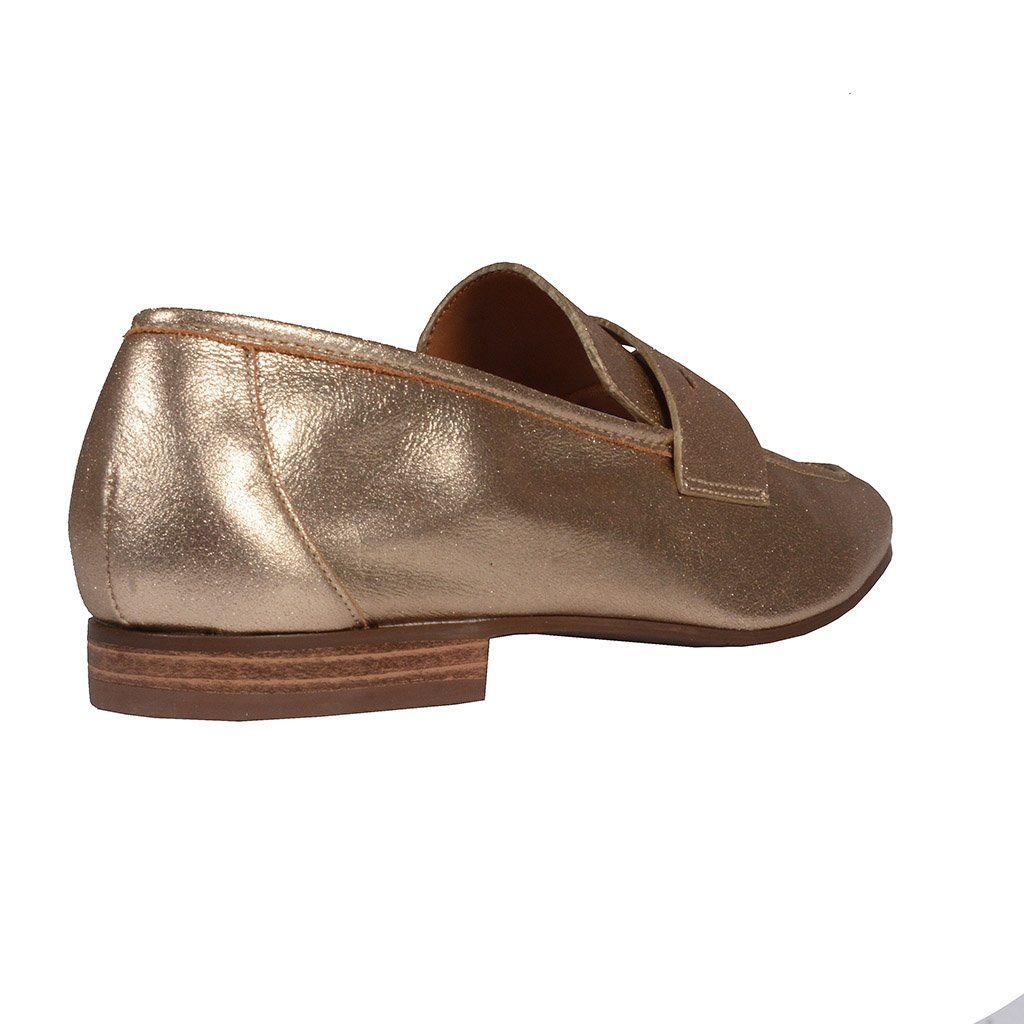 Loafer Couro Metalizado Ouro I20