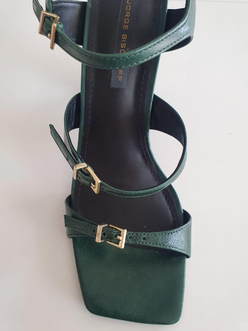 Sandália Tiras Verde com Salto Bloco I20