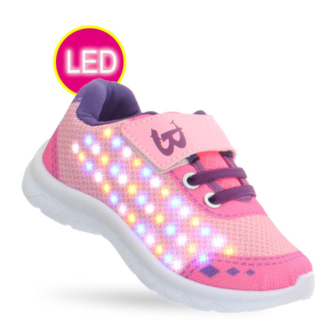 a91519c245c1ec Tenis Led Infantil feminino rosa estrelas com luz