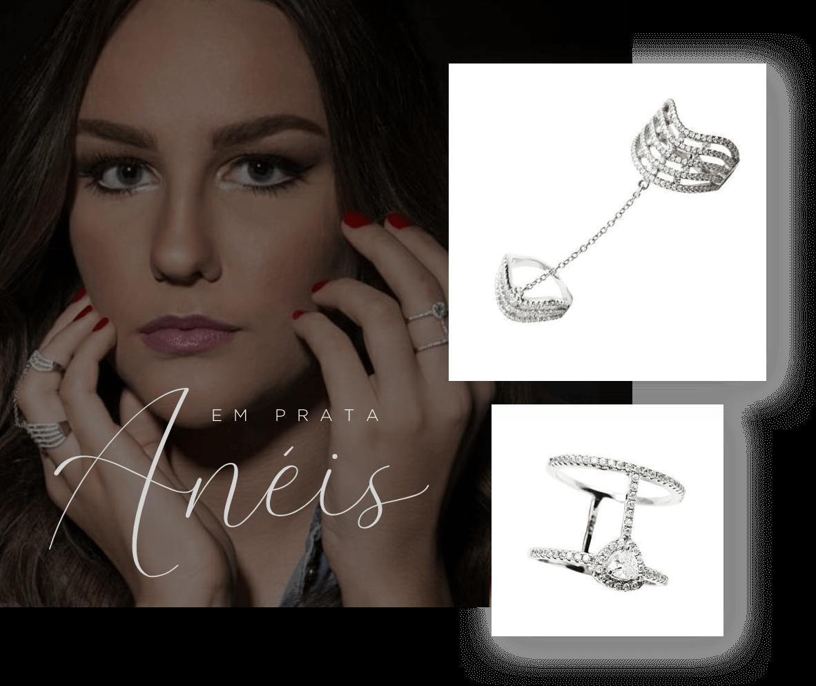 em prata anéis