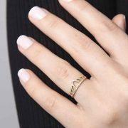 Anel Ouro 18k Coroa Diamante L 23.5