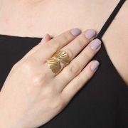 Anel Ouro Amarelo 18k Leque com Diamantes L 70.9