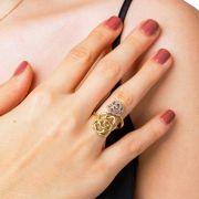 Anel Ouro Misto Floral L 31.9