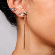 Brincos Ouro Mini Ear Cuff com Franjas L 40