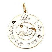 Pingente Dados do Bebê em Prata com Banho de Ouro VD 110