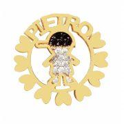 Pingente Mandala 1 Menino Prata Banho de Ouro Nome Pietro VD 190