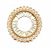 Pingente Mandala Rendada com Nomes em Prata Banho de Ouro VD 139