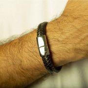 Pulseira Bracelete Couro e Aço Tribal VD 114