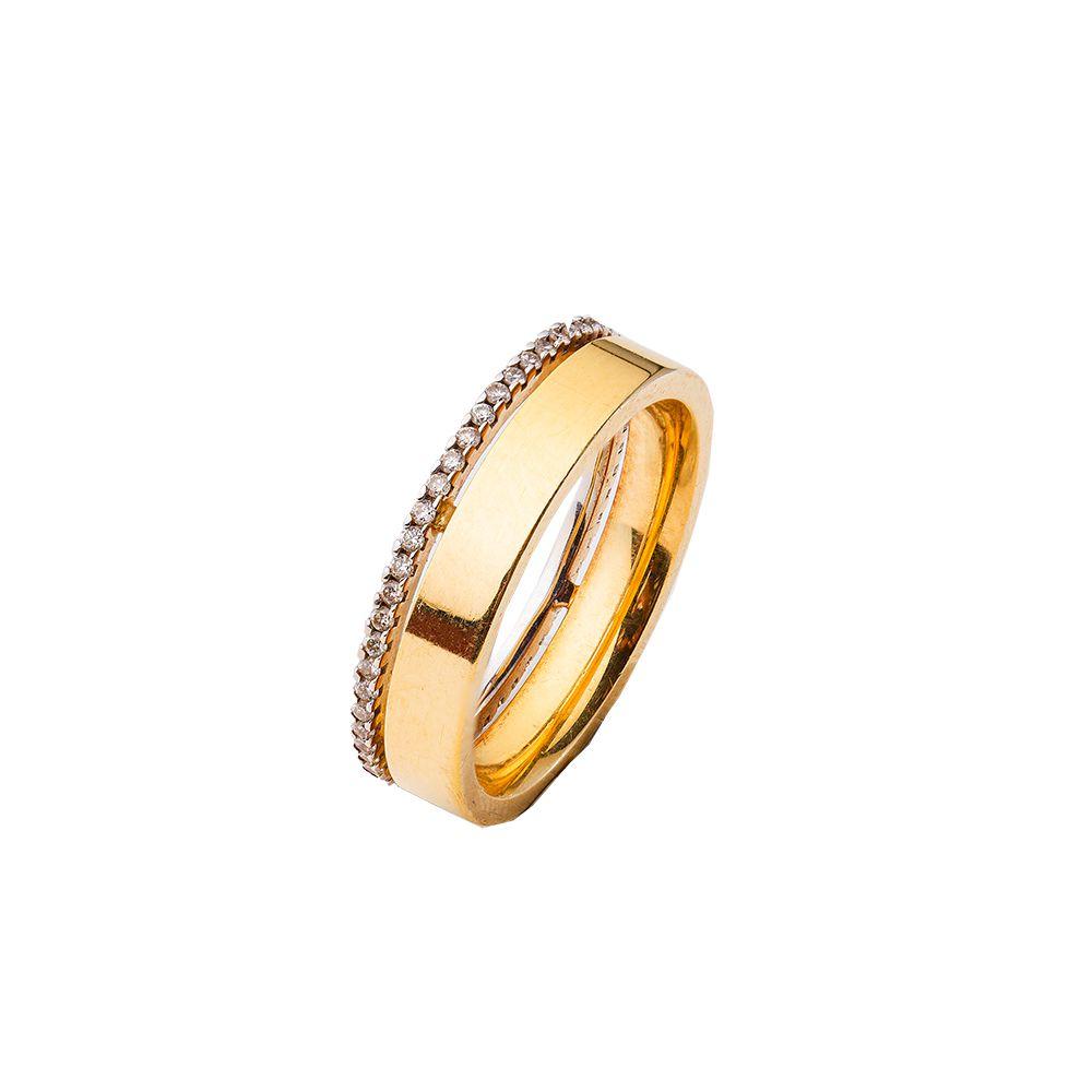 Aliança Ouro 18k Amarelo e Branco Plana Polida com Friso e Diamantes
