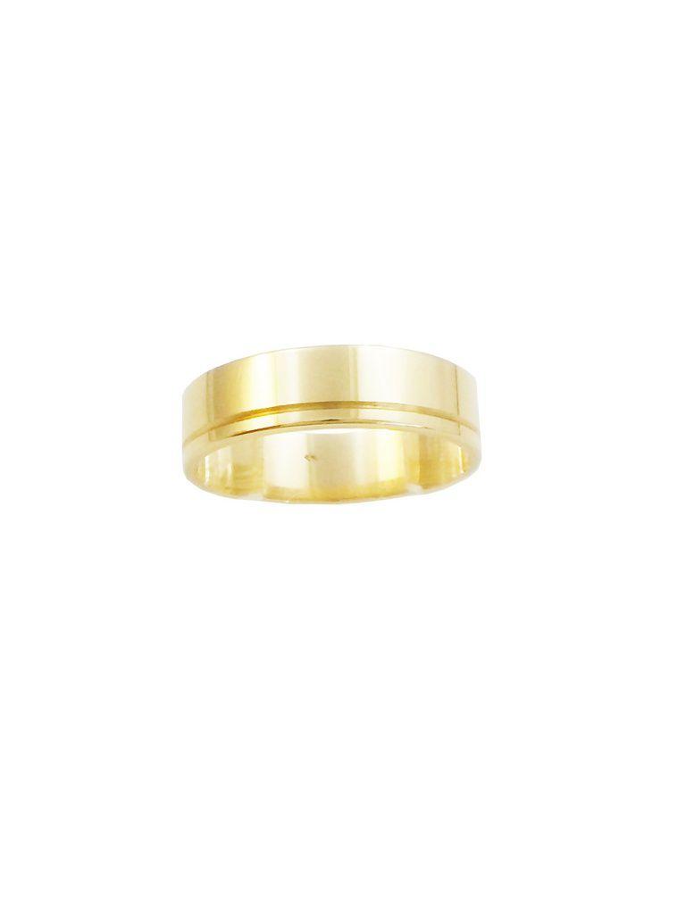 Aliança Ouro 18k Amarelo Plana com Um Friso 0060P