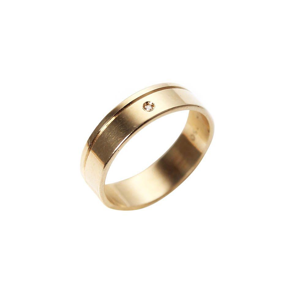 Aliança Ouro 18k Amarelo Plana com Um Friso e Diamante 0060P