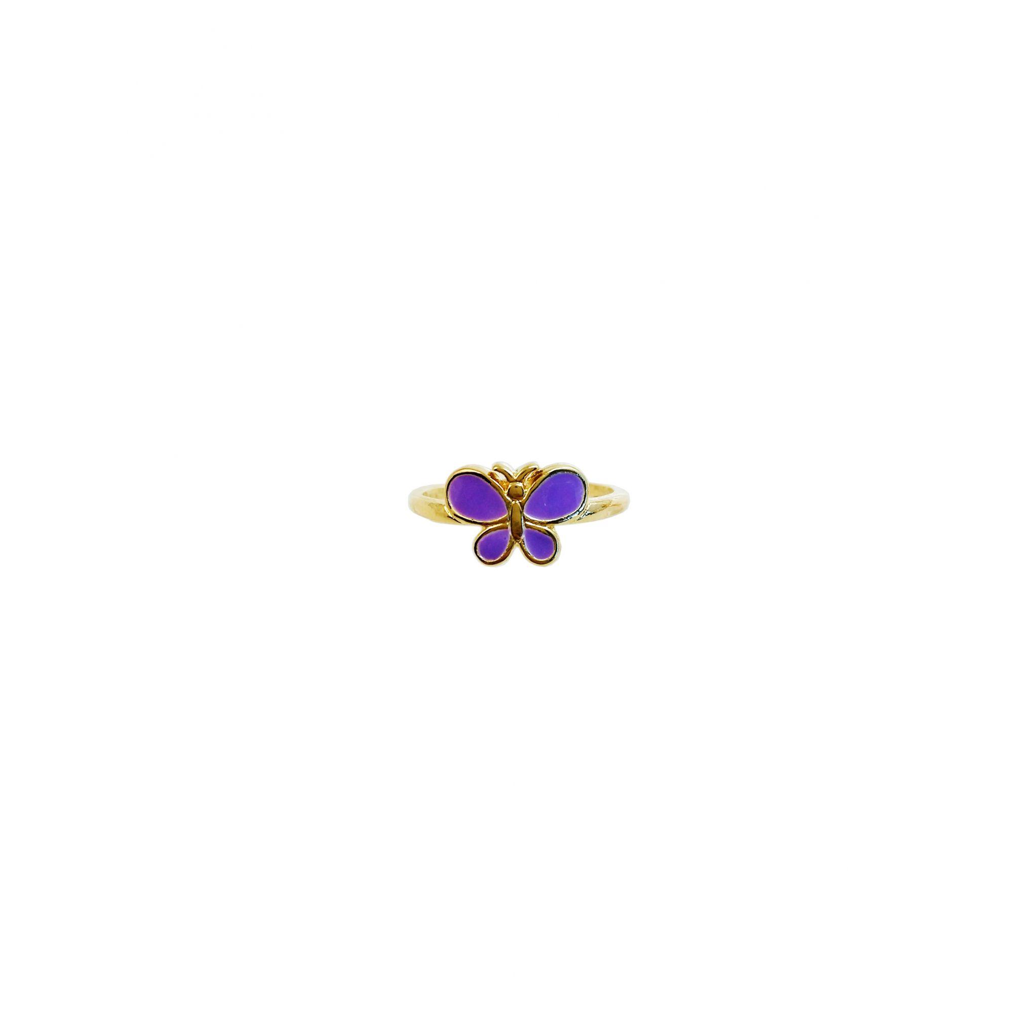 Anel Infantil Borboleta Roxa Prata Banho de Ouro VD 26