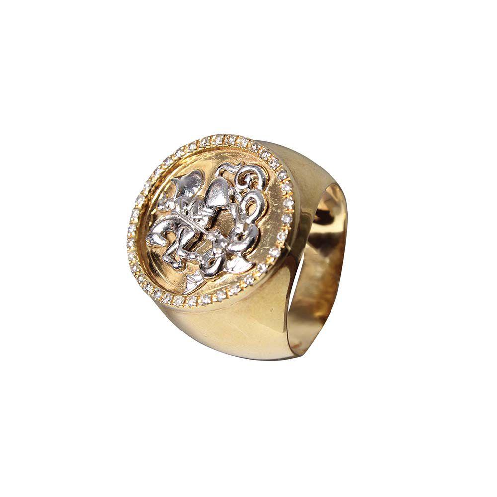 Anel Magnífico de São Jorge em Ouro Amarelo 18k e Diamantes L 179.5