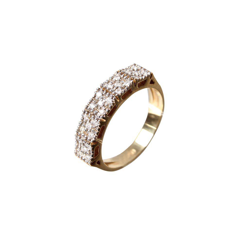 Anel Meia Aliança com Diamantes 5 x 5 L 55