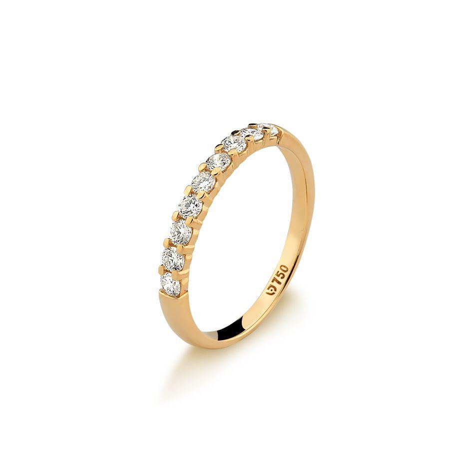 Anel Meia Aliança Ouro Amarelo 18k Diamante L 69