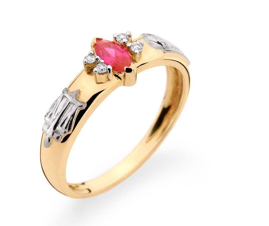 Anel Ouro 18K Amarelo Formatura Navete com diamantes REF 160030 L 28