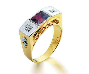 Anel Ouro 18K Amarelo Formatura Tradicional Masculino Pedras Sintéticas REF 160006 L 45.9