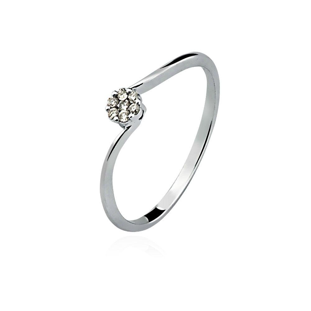 Anel Ouro 18K Branco Chuveirinho Torcido Diamante L 15.2