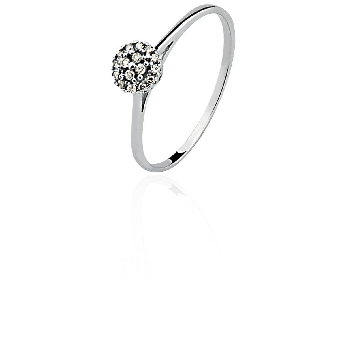 Anel Ouro 18k Branco Clássico Chuveirinho Diamante L 16.7