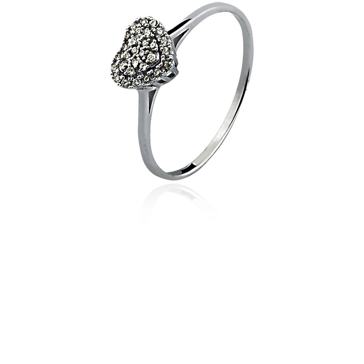 Anel de Ouro 18K Branco Clássico Coração Diamante L 20.5