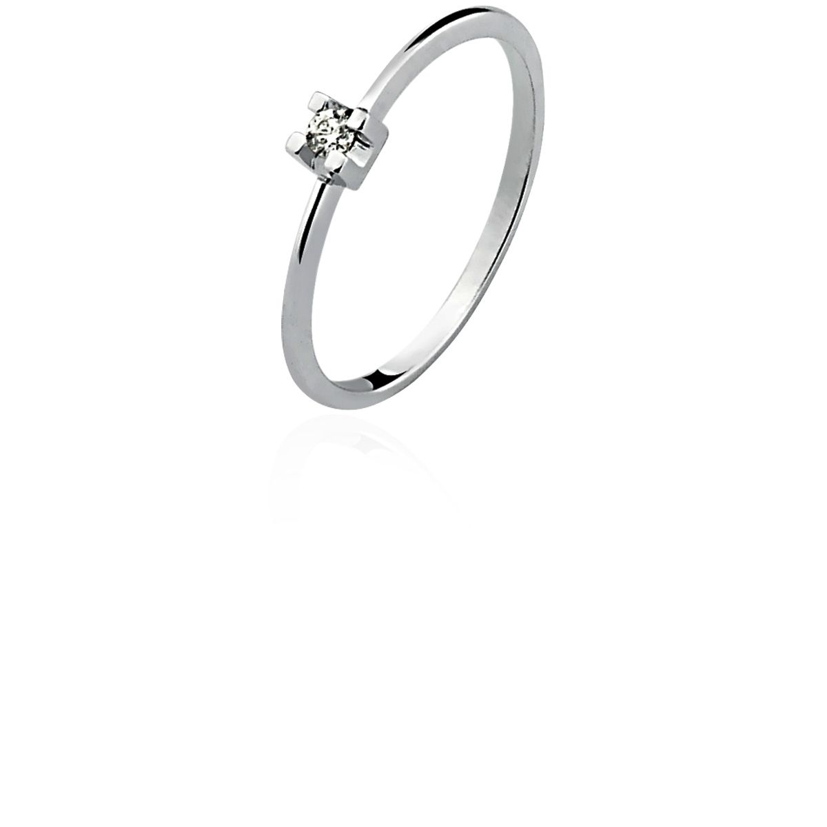 Anel Ouro 18K Branco Solitário Diamante L 18.6