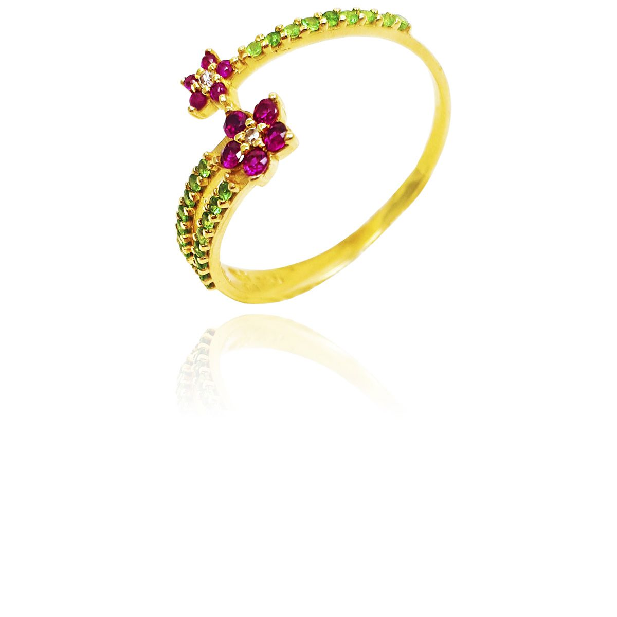 Anel Ouro 18k Flowers Pedra Natural L 15.5
