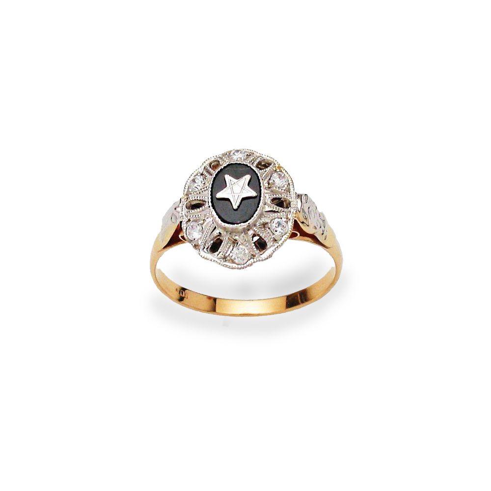 Anel Ouro 18K Formatura Magistério diamante L 28.5