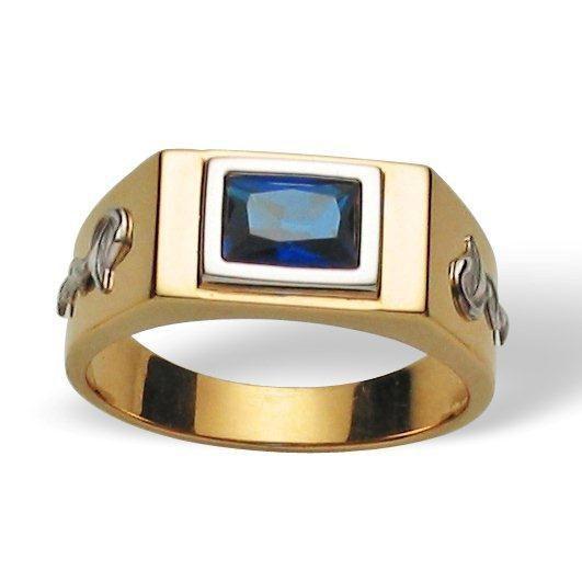 Anel Ouro 18K Masculino Formatura Pedra Sintética REF 20.971.77 L 31.5