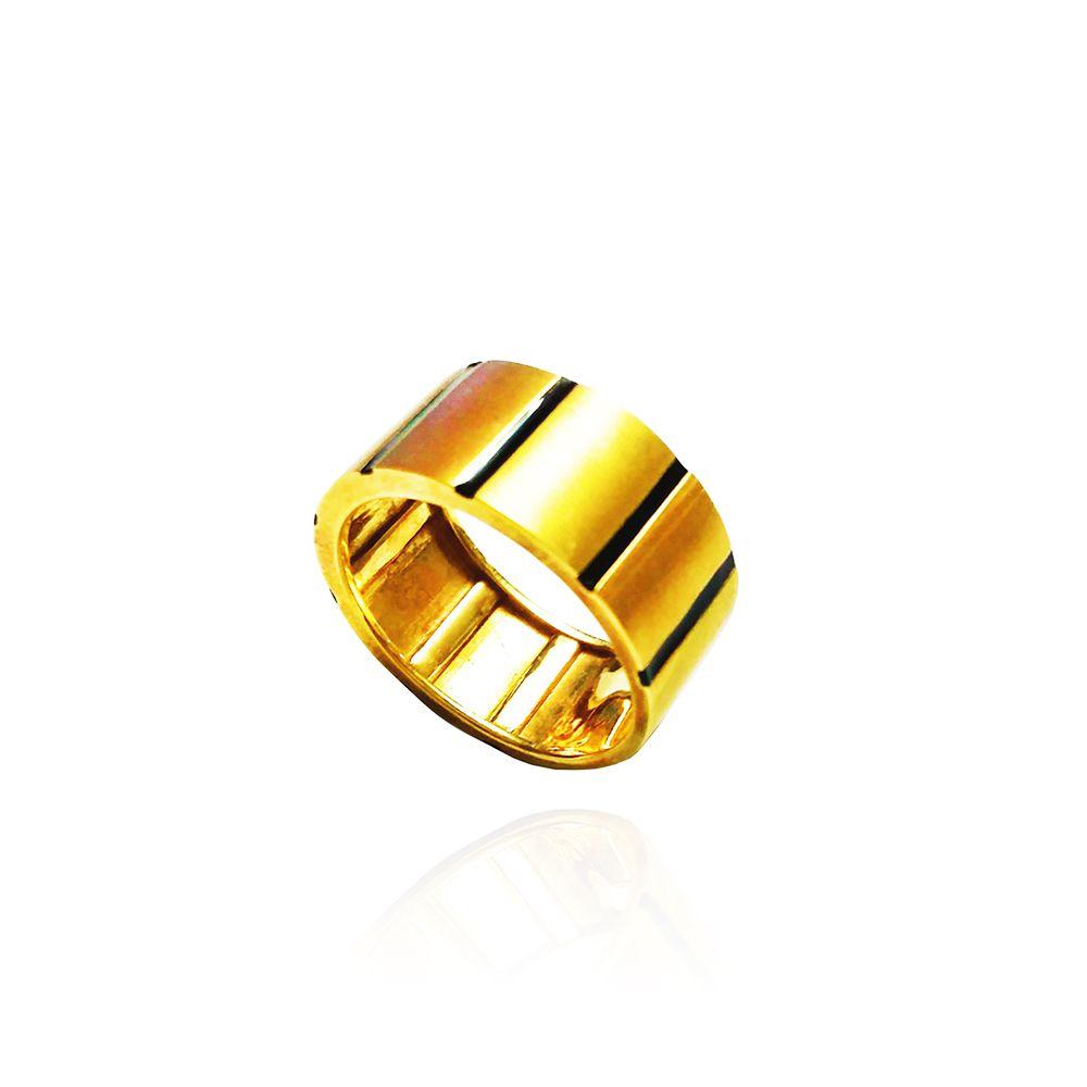Anel Ouro 18k Masculino Friso Esmaltado L 33.6