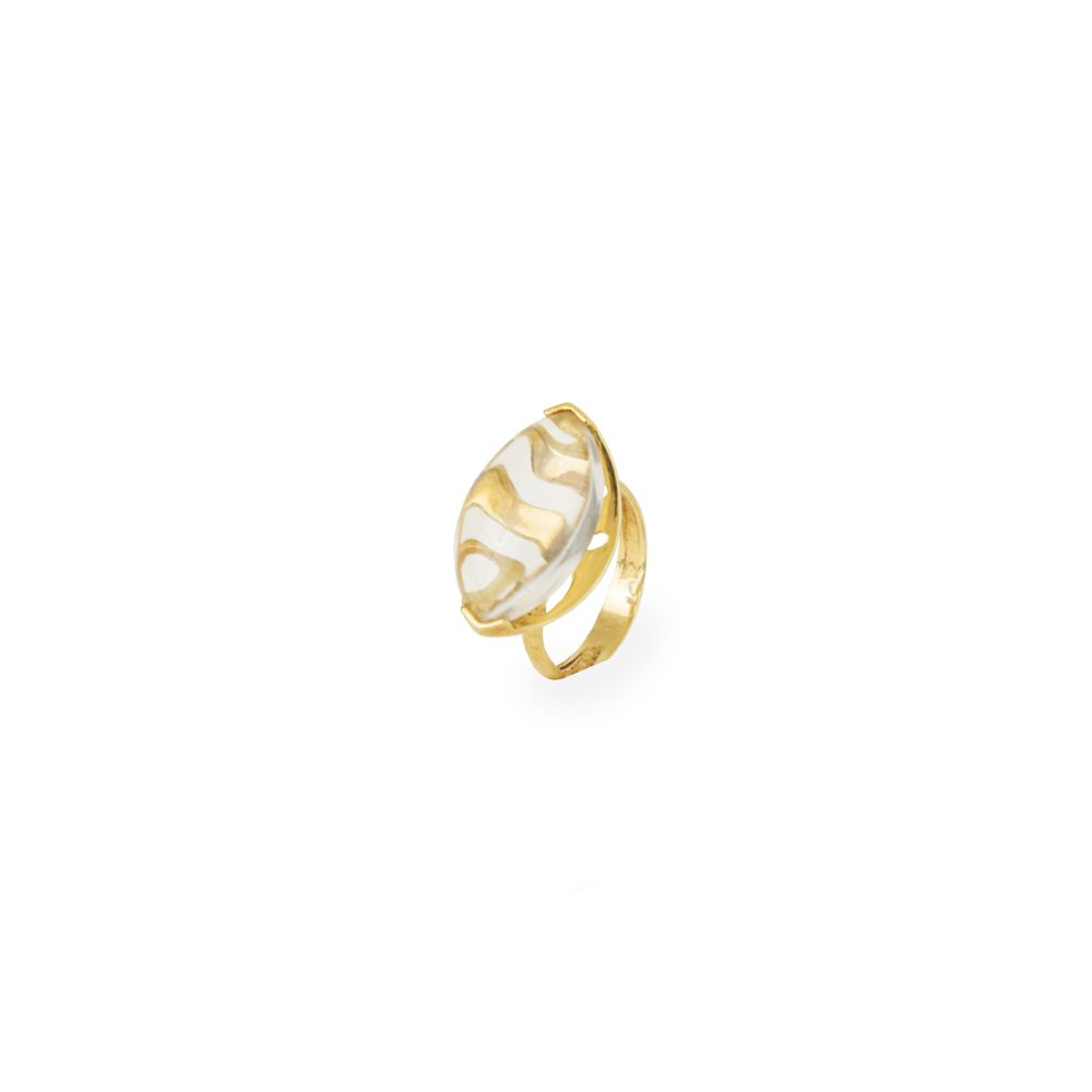 Anel Ouro Am Cristal Quartzo ICL33