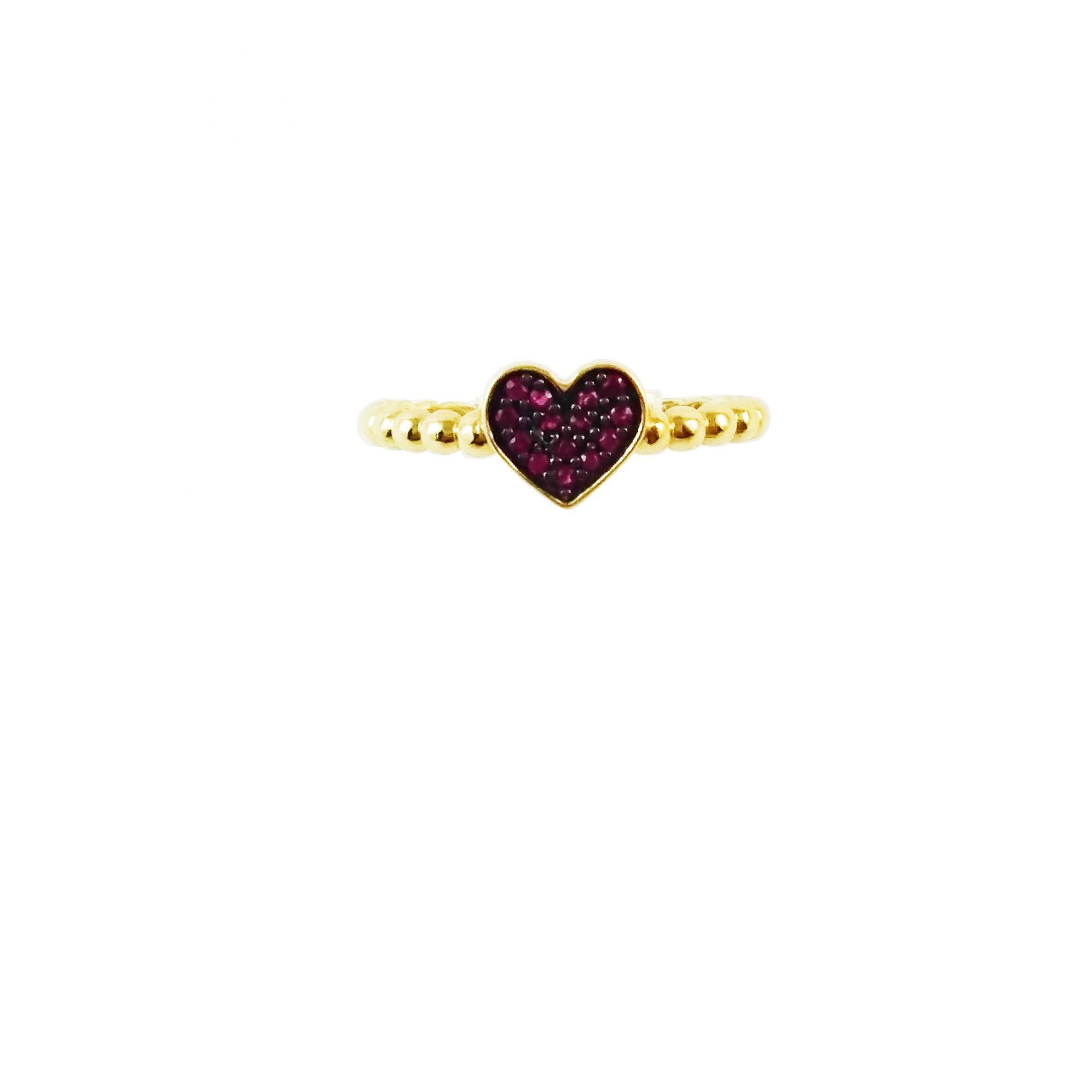 Anel Ouro Amarelo 18k Aro Bolinhas e Coração Rubis L 14.5