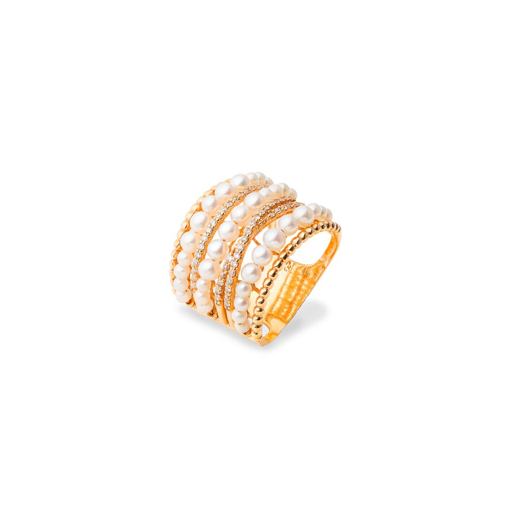 Anel Ouro Amarelo 18k Vazado com Diamantes e 3 Carreiras de Pérolas L 76