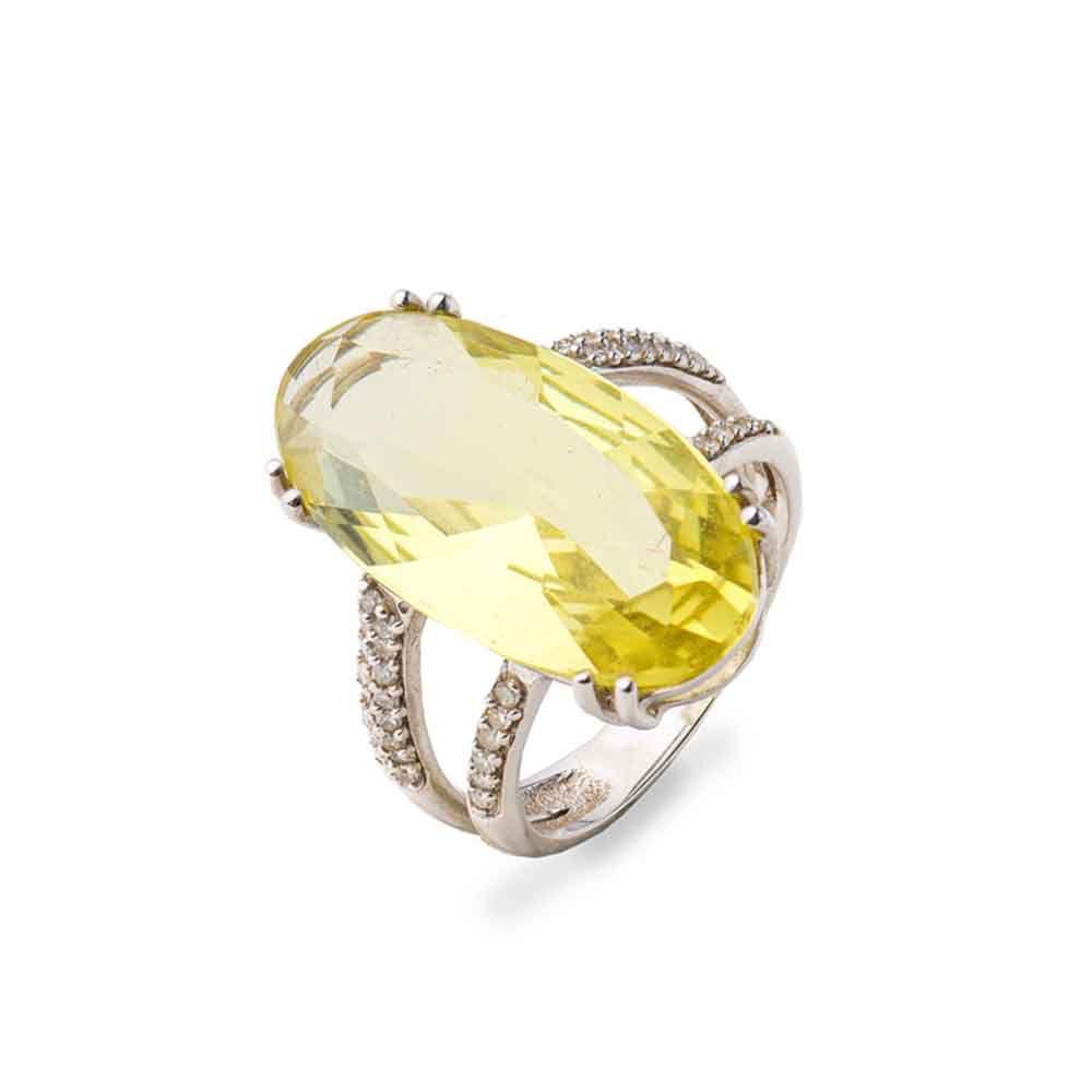 Anel Ouro Branco 18k Green Gold com Diamantes Brancos L 67