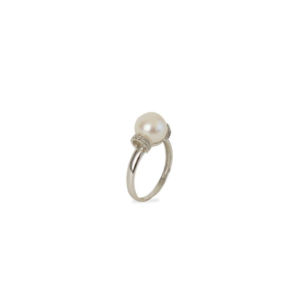 Anel Ouro Branco Pérola com Diamantes L 24.2